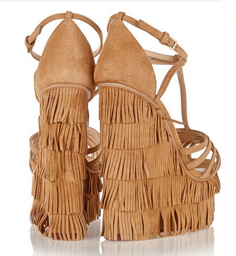 New fashion cut outs croce strap nappe sandali con zeppa alta piattaforma altezza crescente donna scarpe sandalo-in Tacchi alti da Scarpe su  Gruppo 3