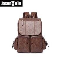 JASON TUTU Black leather backpack PU soft leather Male Back pack Leisure Men Zipper 14 inch Laptop backpack Multi pocket B220