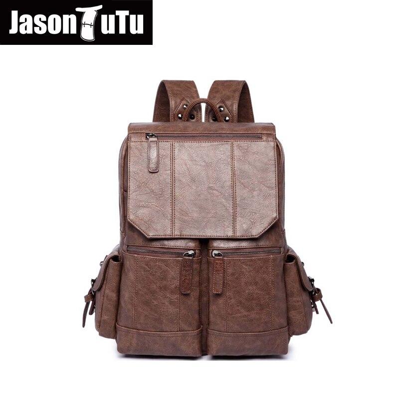 JASON TUTU sac à dos en cuir noir PU cuir souple homme sac à dos loisirs hommes fermeture éclair 14 pouces sac à dos pour ordinateur portable multi-poches B220