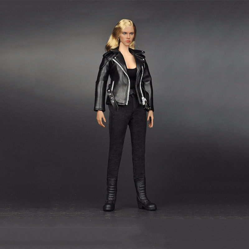 1/6 Female Black Leather Suit Set Clothing Model T-800 For 12 Female Action Figure Accessory Jacket Pants Belt and Vest 1 6 purple female sexy leather skirt dress suit clothing model toys for 12 female action figures body accessory
