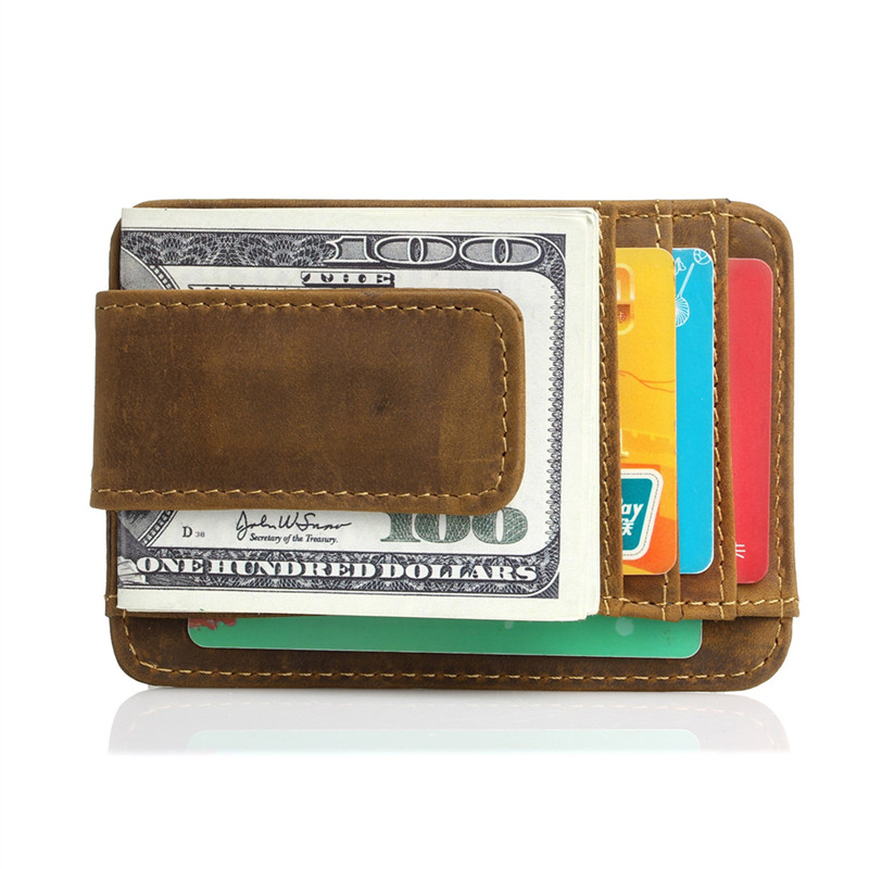 1e61307127a4 Nesitu высокое качество Винтаж тонкий коричневый Пояса из натуральной кожи  зажим для денег с магнитом Crazy