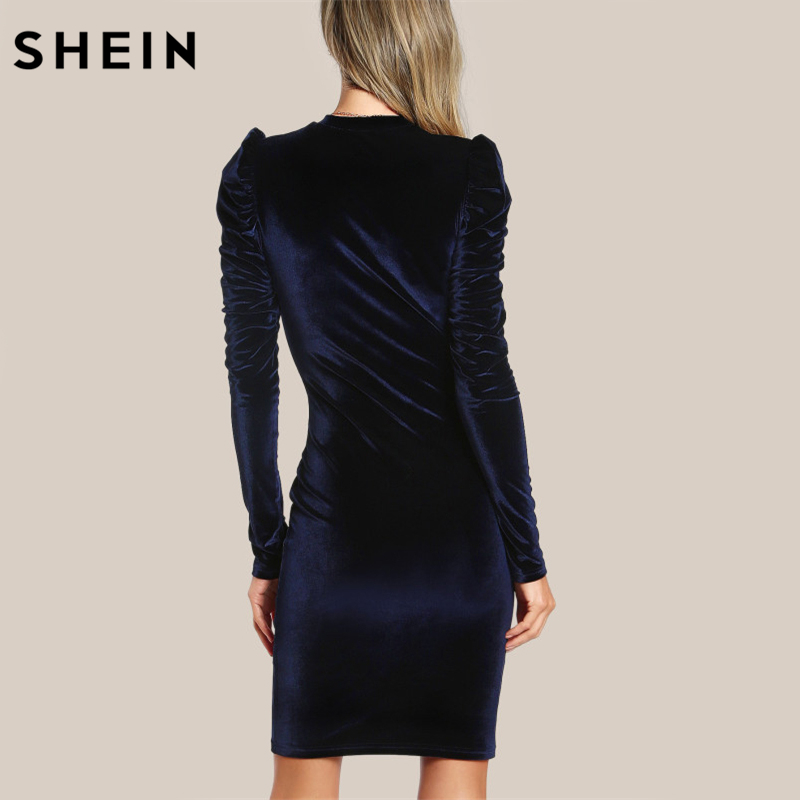 03eaa687ac SHEIN Puff Sleeve Velvet Pencil Dress Womens Autumn Dresses Navy Long Sleeve  Knee Length Elegant Party Dresses