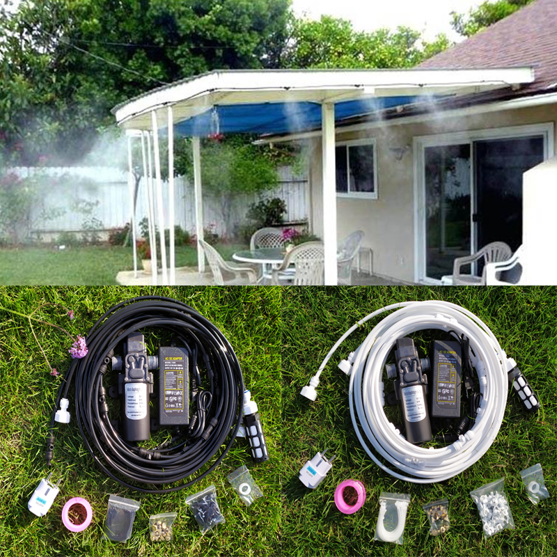 12V DC High Pressure Misting System 5L/min with 6pcs brass misting nozzles misting system