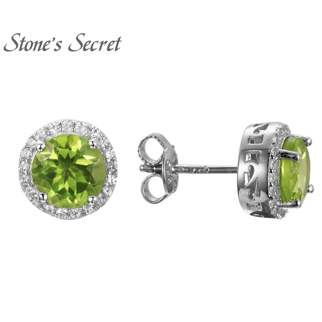 silver stud flower earring halo stone in jewelry p diamond peridot sterling earrings gemstone
