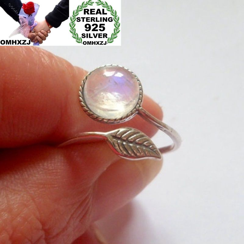 OMHXZJ Wholesale European Fashion Woman Girl Party Wedding Gift Silver Leaf White Moonstone 925 Sterling Silver Ring RR228