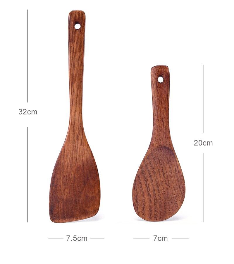 Kitchen Turner Spatula Rice Spoon Long Wooden Turner Pancakes Shovel Wood Rice Paddle Serving Spoon Cooking Utensils (12)