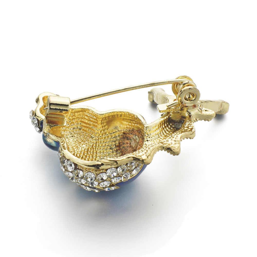 Dalaful Lucu Biru Enamel Snail Bros Berlian Imitasi Kristal Korsase Kualitas Tinggi Kecil Serangga Bros Pin Untuk Wanita Perhiasan Z052