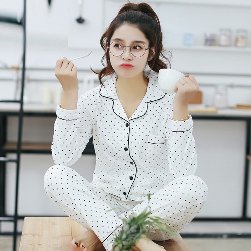 Yidanna cute black dot pajamas set for female fresh homedress nightie women pijama girl cotton sleepwear casual nightwear autumn