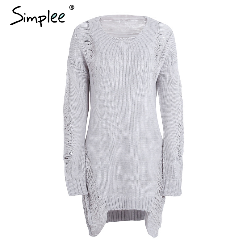 Simplee Sexy hollow out knitting pullover Fashion autumn winter sweater women Side high split hole black jumper pull femme