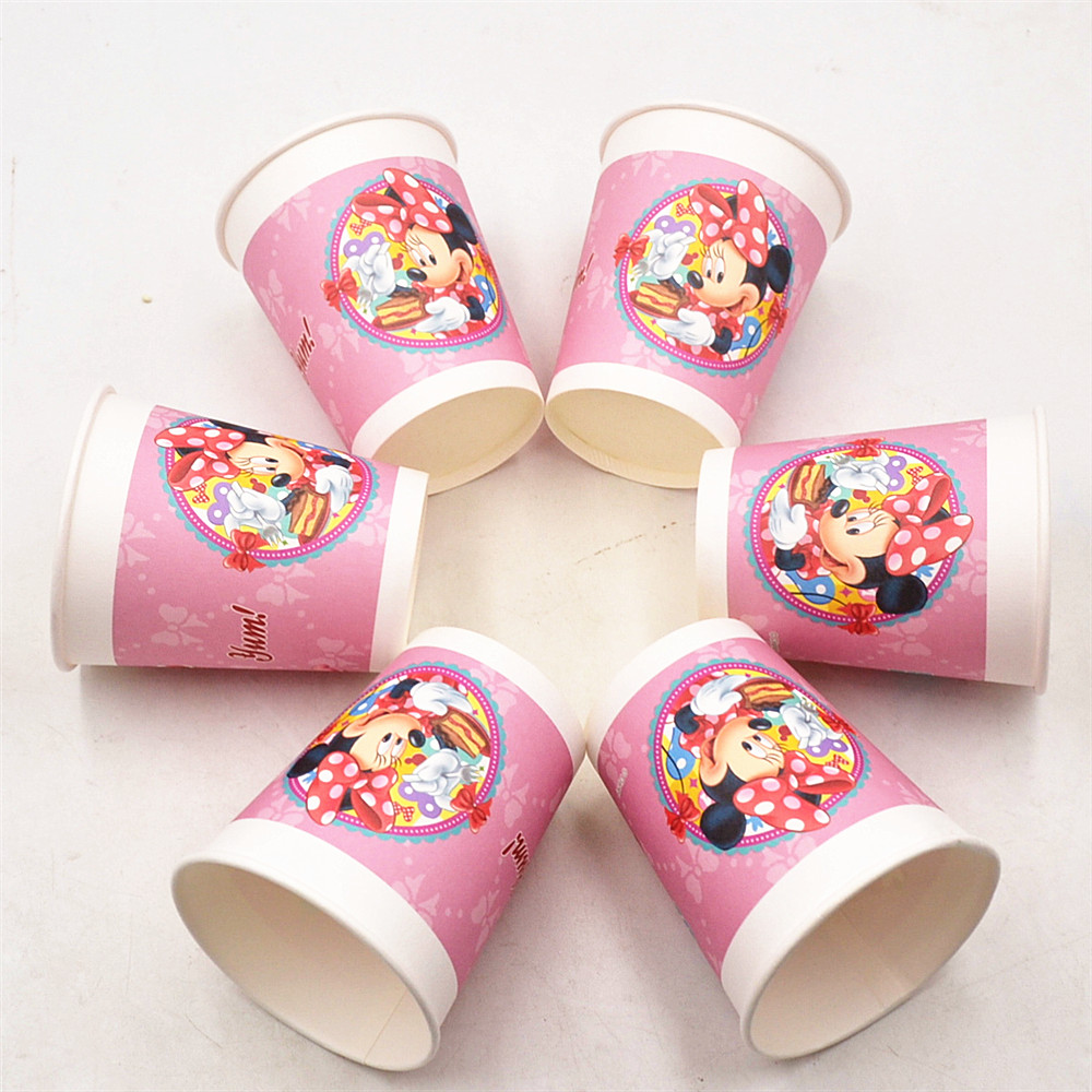 6pcs/lot Disney Minnie Mouse Paper Cup Party Supplies kids Birthday Decoration Paperboard Cup Baby Shower For Kids Favorite
