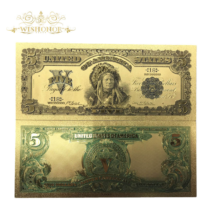 10pcs/lot Business Gifts American 1899 Year Gold Banknote <font><b>5</b></font> US <font><b>Dollar</b></font> Note Gold <font><b>Bill</b></font> Colored Foil Banknote For Home Crafts image