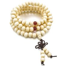 8mm Wood Necklace Tibetan White Sandal 108pcs Bead Buddhist Prayer Bracelet Man, Woman(China)