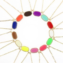 GET IT GIRL Classic KS Mini Oval Pendant Choker Necklace for Women Daily Jewelry 17 Colors