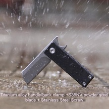 S35VN Powder Steel Titanium alloy Outdoor EDC Mini key tool pendant, multi-function bottle opener folding knife. цена