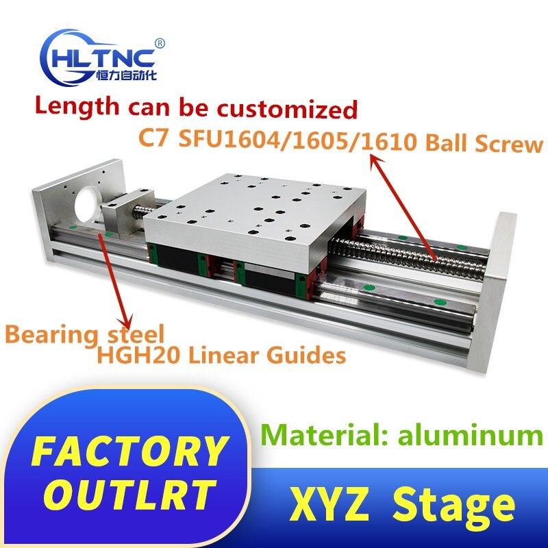 XYZ asse di Scorrimento Lineare Fase SFU1605 Vite A Sfere + HGH20 Guida Lineare per le parti CNC nome 23 34 motore passo a passo
