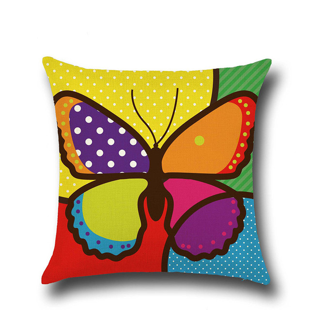 Flower Butterfly Pattern Cushion Cover Cotton Linen Pillow Case ...