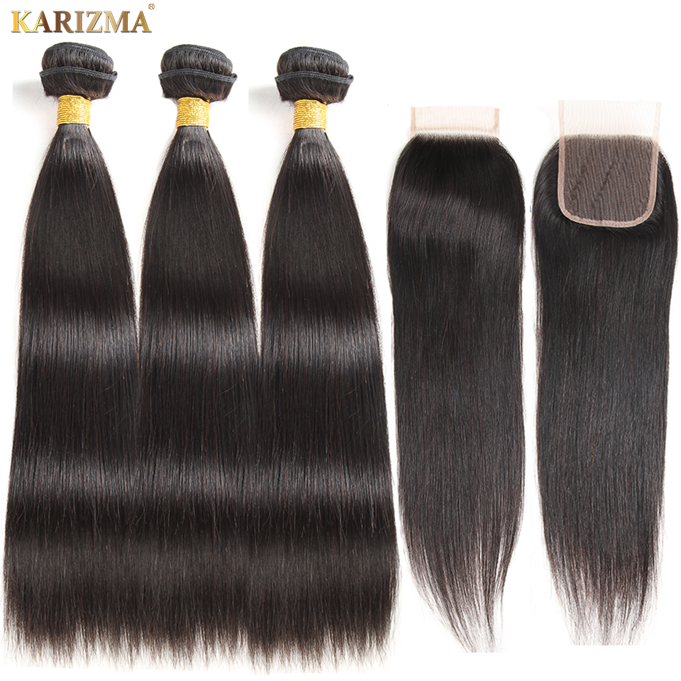 Karizma Brasilian Straight Hair Bundles With Closure Natural Color 4 - Menneskelig hår (for svart)