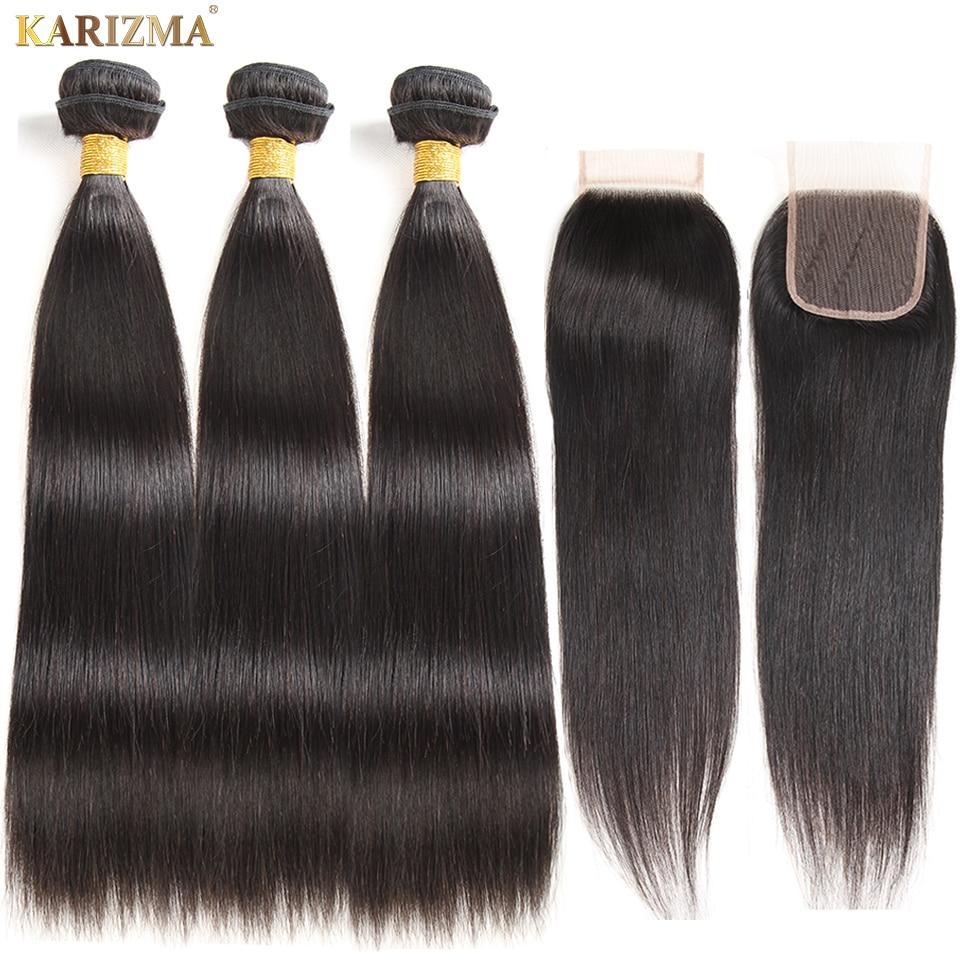 Karizma Brazilian Straight Hair Bundles With Closure Natural Color 4 Pcs/lot Human Hair Weave 3 Bundles With Closure Non Remy