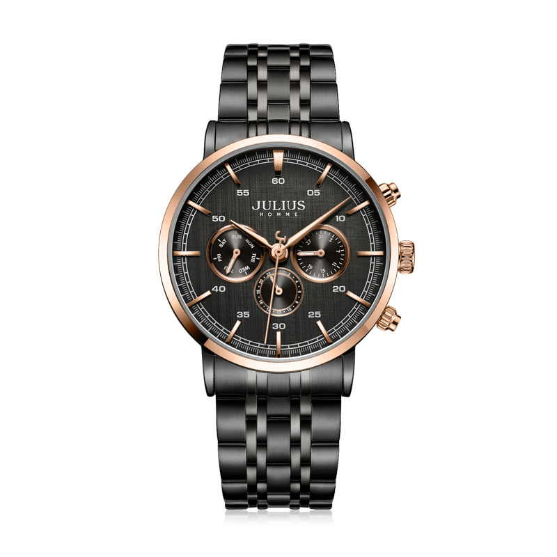 Real Multi function Julius Men s Watch Hours ISA Mov t Business Dress Bracelet Stainless Steel