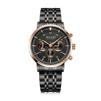 Real Multi-function Julius Men's Watch Hours ISA Mov't Business Dress Bracelet Stainless Steel Boy's Birthday Christmas Gift Box - DISCOUNT ITEM  50% OFF All Category