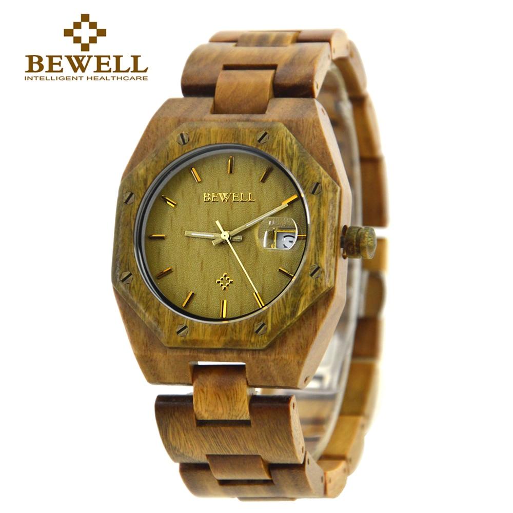 BEWELL Men's Watch Natural Wood Watch Handmade Special Irregular Shape Brand Design Style Classic Retro Watch 099A|watch a|watch handmade|watch limited - title=