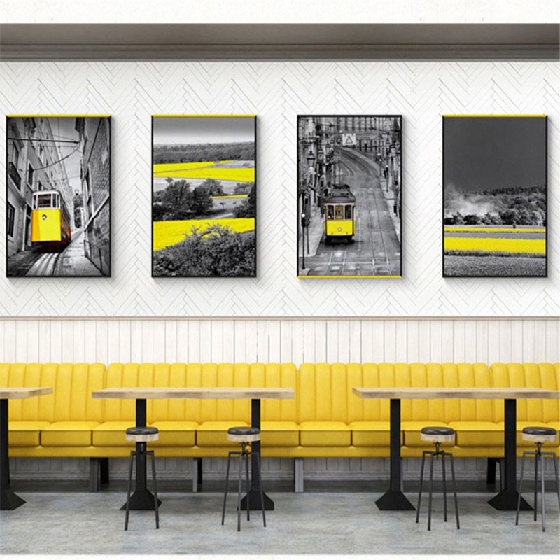HAOCHU Nordic Decoration Painting Black White Yellow Modern Building City Village Landscape Personality Hotel Living Room Poster