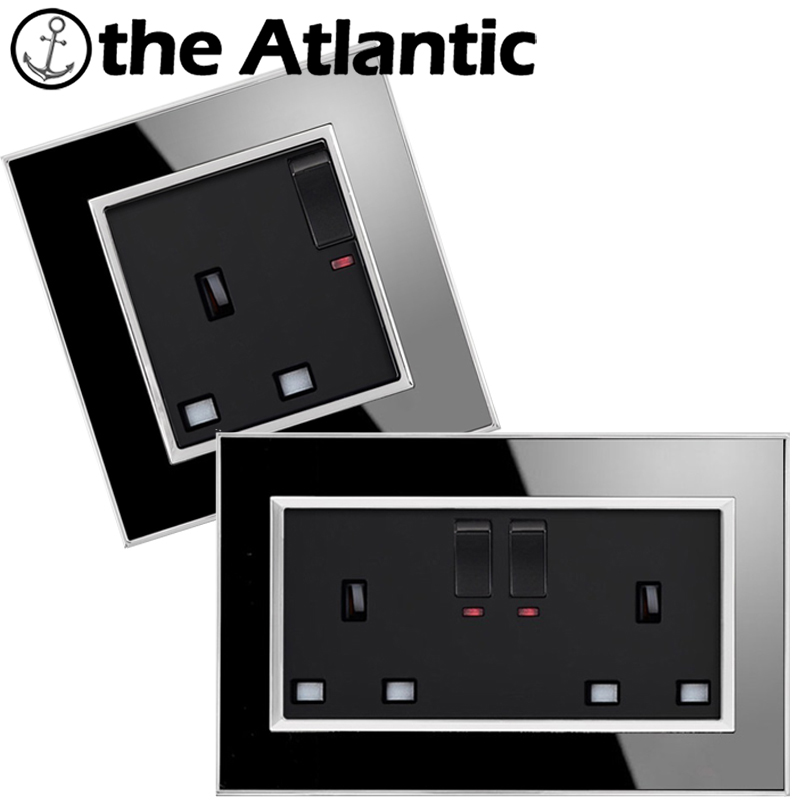Atlantic UK Standard Switched Socket 146/86 Type 13A With Neon Luxury Wall Power Outlet Acrylic Crystal Mirror Panel 146 double 13a uk switched socket wallpad crystal glass panel 110v 250v 146 86mm uk standard wall socket plug power outlet