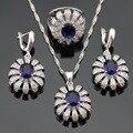 Conjuntos de Jóias de Cor prata Para As Mulheres de Natal Azul Criado Sapphire Branco Pedras Colar Pingente Brincos Anéis Caixa de Presente Livre