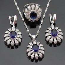 Color de plata Sistemas de La Joyería Para Las Mujeres Navidad Azul Creado Zafiro Blanco Piedras Collar Colgante Pendientes Anillos Caja de Regalo Libre
