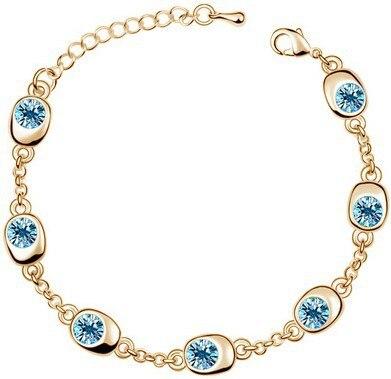 Подарок на день рождения, высокое качество, 7 бусин, Звездные глаза, браслеты с кристаллами, модные ювелирные изделия, 12 цветов, милые Подвески для женщин - Окраска металла: gold oceanblue