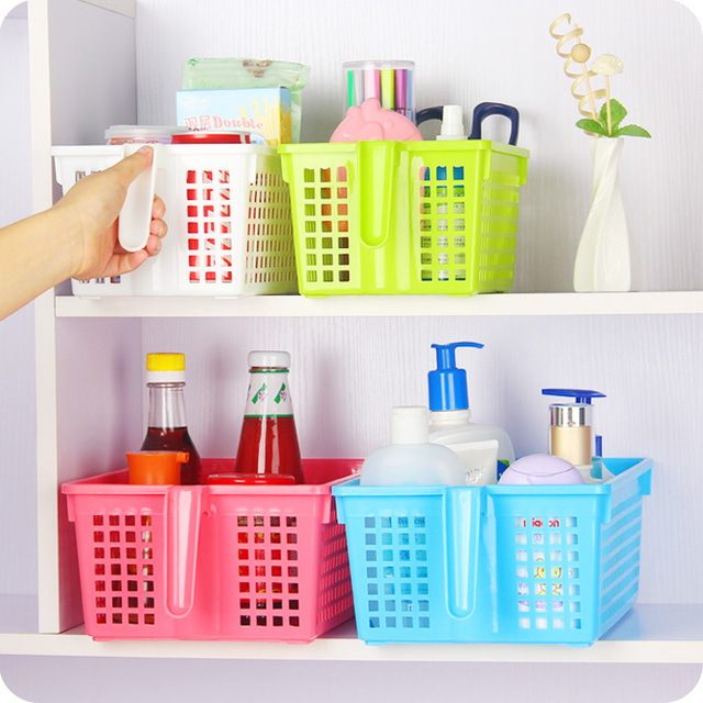 Peas Anese Home Kitchen Storage Basket With Handle Clified Bathroom Baskets Plastic Debris