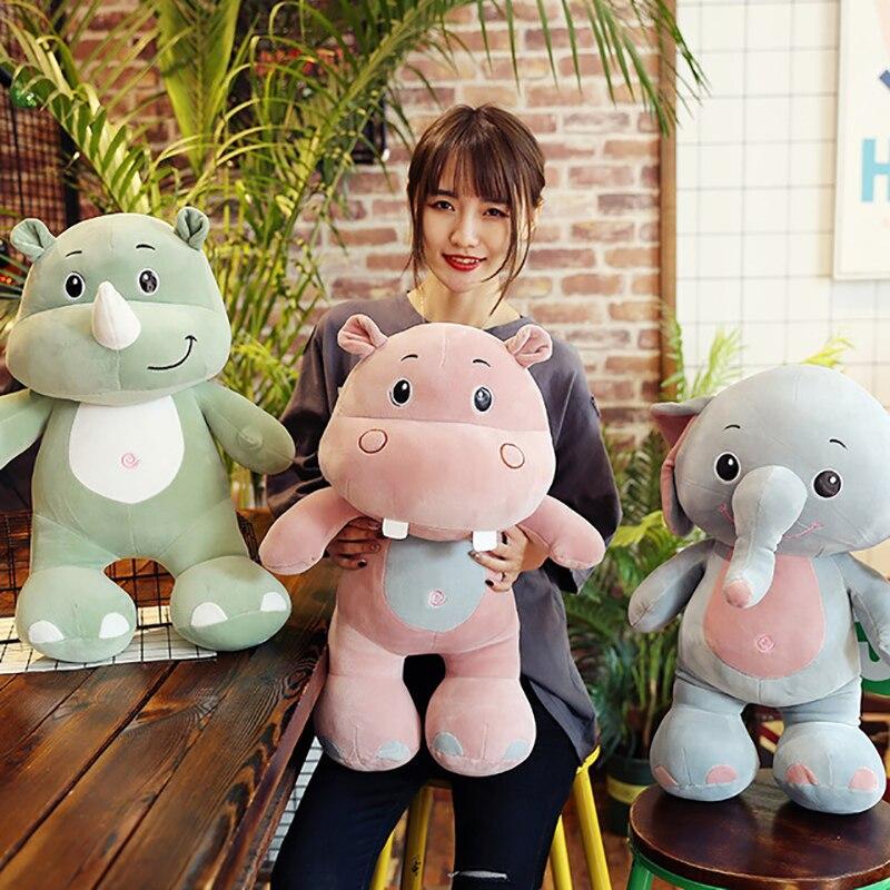 40cm Plush Colorful Elephant Rhino Hippo Cute Cartoon Kawaii Cotton Soft Stuffed Nano Doll Kids Christmas Gift Toys For Children
