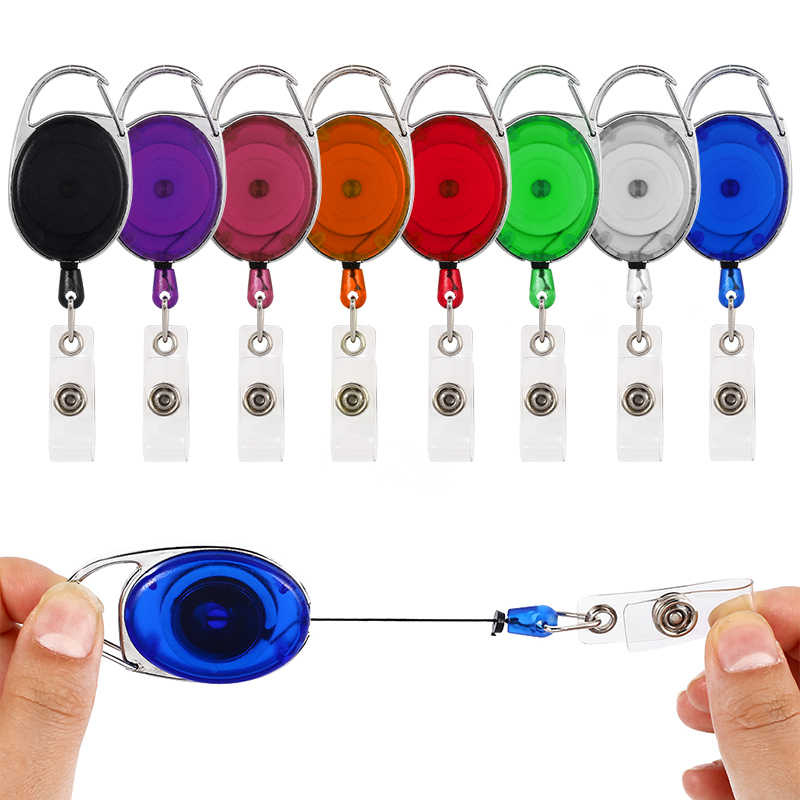 Retractable Pull Badge ID Lanyard Name Tag Card Badge Holder Reels Recoil Belt Key Ring Chain Clips Office Supplies