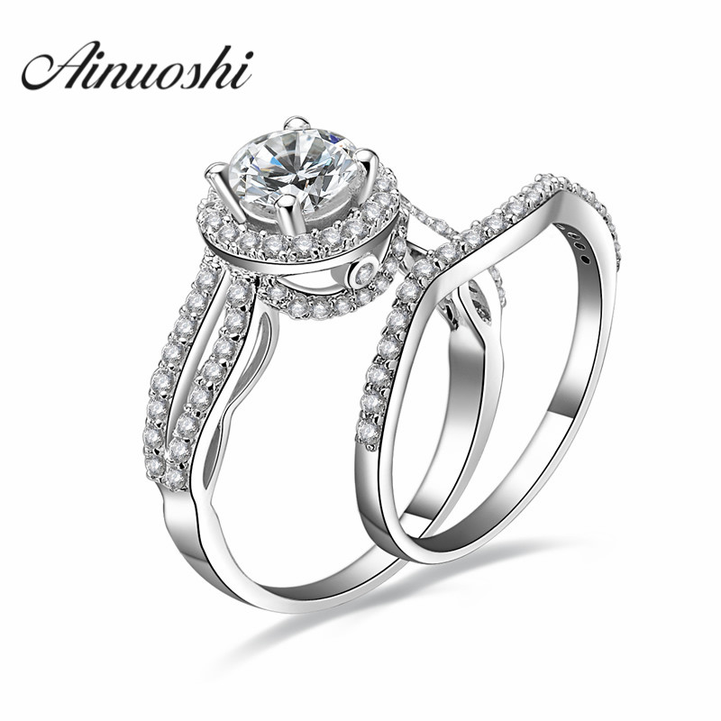 AINOUSHI Fashion 925 Sterling Silver Engagement Ring Sets 1 Carat Sona Round Cut Halo Wedding Anniversary Lover Ring Set JewelryAINOUSHI Fashion 925 Sterling Silver Engagement Ring Sets 1 Carat Sona Round Cut Halo Wedding Anniversary Lover Ring Set Jewelry