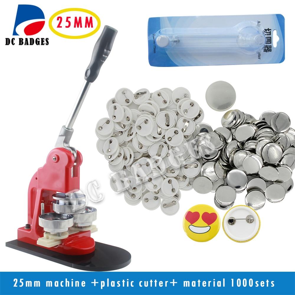 Бесплатная доставка 1 (25 мм) знак Button Maker + регулировка циркуль + 1000 Пластик Pin Назад Знак Запчасти
