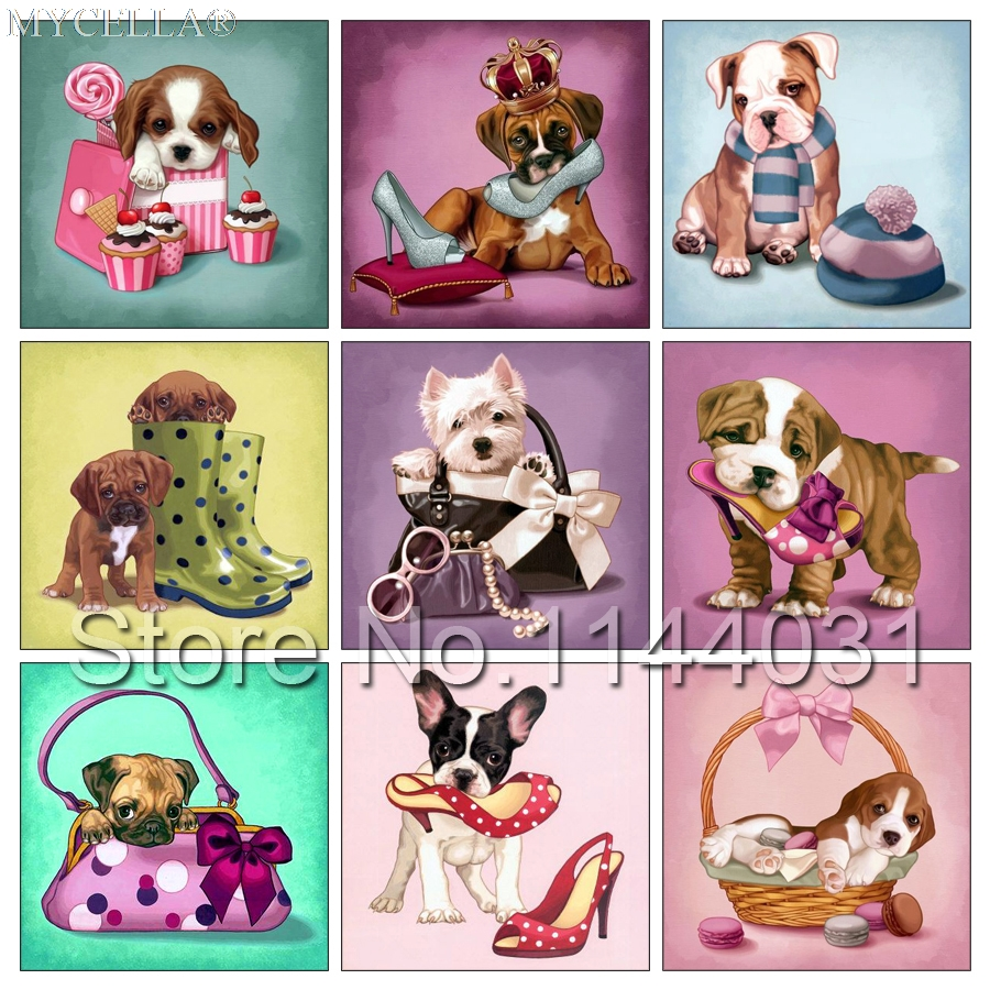 5D Diy Diamond Painting Cross Stitch Diamond Embroidery Bulldog & Lovely Dog Baby Diamond Mosaic Full Rhinestone Needlework