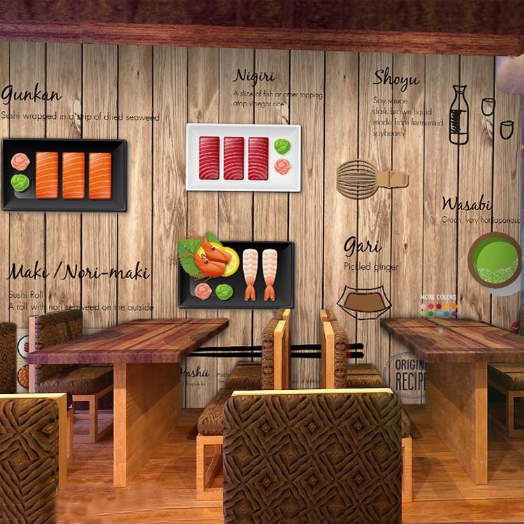 Custom photo wallpaper 3D cartoon hand-painted Japanese Restaurant mural wallpaper Noodle sushi shop wood wallpaper цена 2017