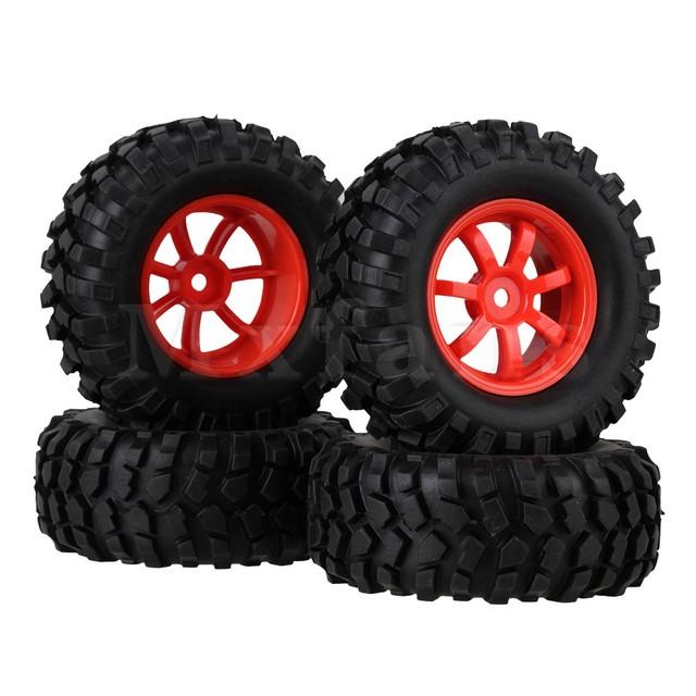 Mxfans 1:10 RC Rock Crawler Plástico 7 Habló Llantas de Caucho de Neumáticos Neumáticos