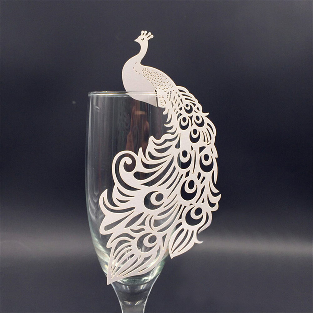 50pcs Peacock Laser Cut Paper Place Card Escort Cup Card Glass Wine