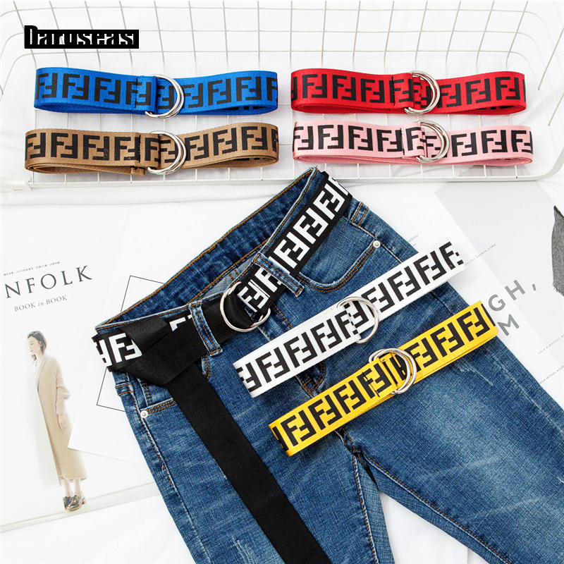 Jeans Belt Letter Double-Buckle Plaid Printing Nylon Street Student