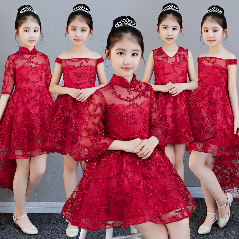 2018New High Quality Children Girls Red Birthday Wedding Party Ball Gown Dress Babies Kids Tutu Piano Costume Dress For Age 3~13 2017 new high quality girls babies white color lace princess party dress wedding birthday costume ball gown dress for children