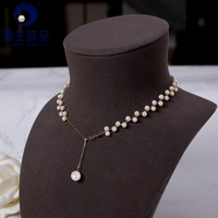 [YS] Purely Manual knitting Pearl Necklace Jewelry Withe Natural 18K Gold Pearl Necklace