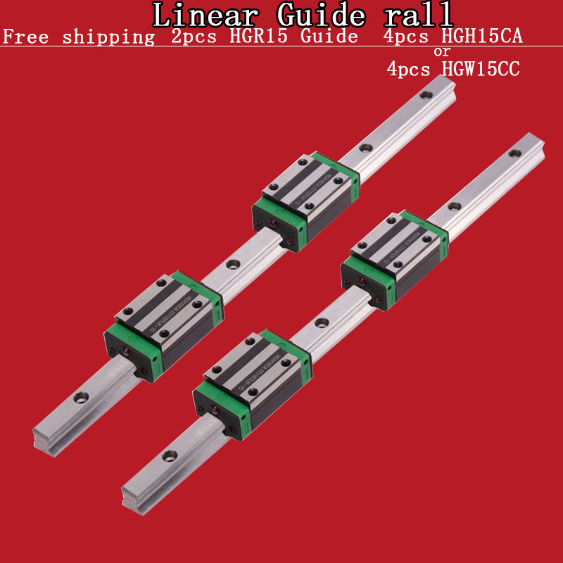 FEIZHI 2 stücke linearführungsschiene HGR15-L = 200 300 400 500 600 ~ 1500mm 4 stücke linear block wagen HGH15CA oder HGW15CA slider CNC teile