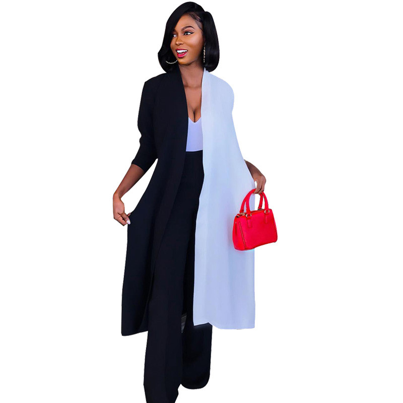 Autumn 2018 Long   Trench   Coat for Women Black White Patchwork Oversize Casual Duster Coat Open Front Long Kimono Cardigan Coat