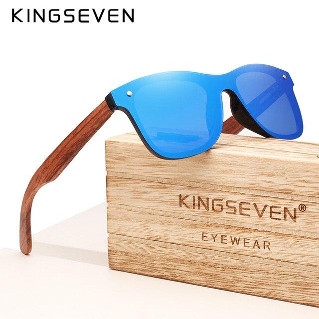 Kingseven óculos de sol estilo vintage, óculos de madeira masculino polarizado, sem aro, armação quadrada 2019