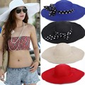 6 Цветов Женщины Шляпа Солнца женская Бабочка Складная Соломенные Шляпы Пляж Головные Уборы Моды