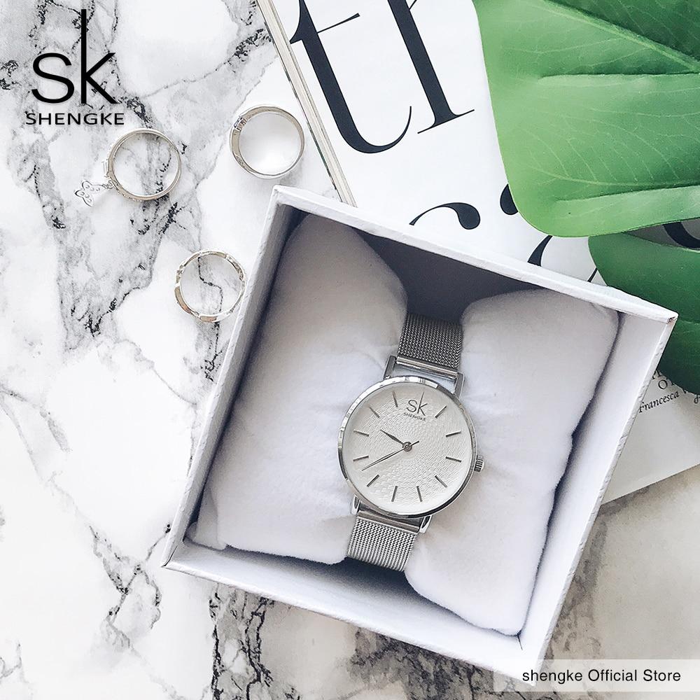 SK Super Slim Gliver Mesh Nehrđajući čelik Satovi Na vrh Luksuzni - Ženske satove - Foto 4