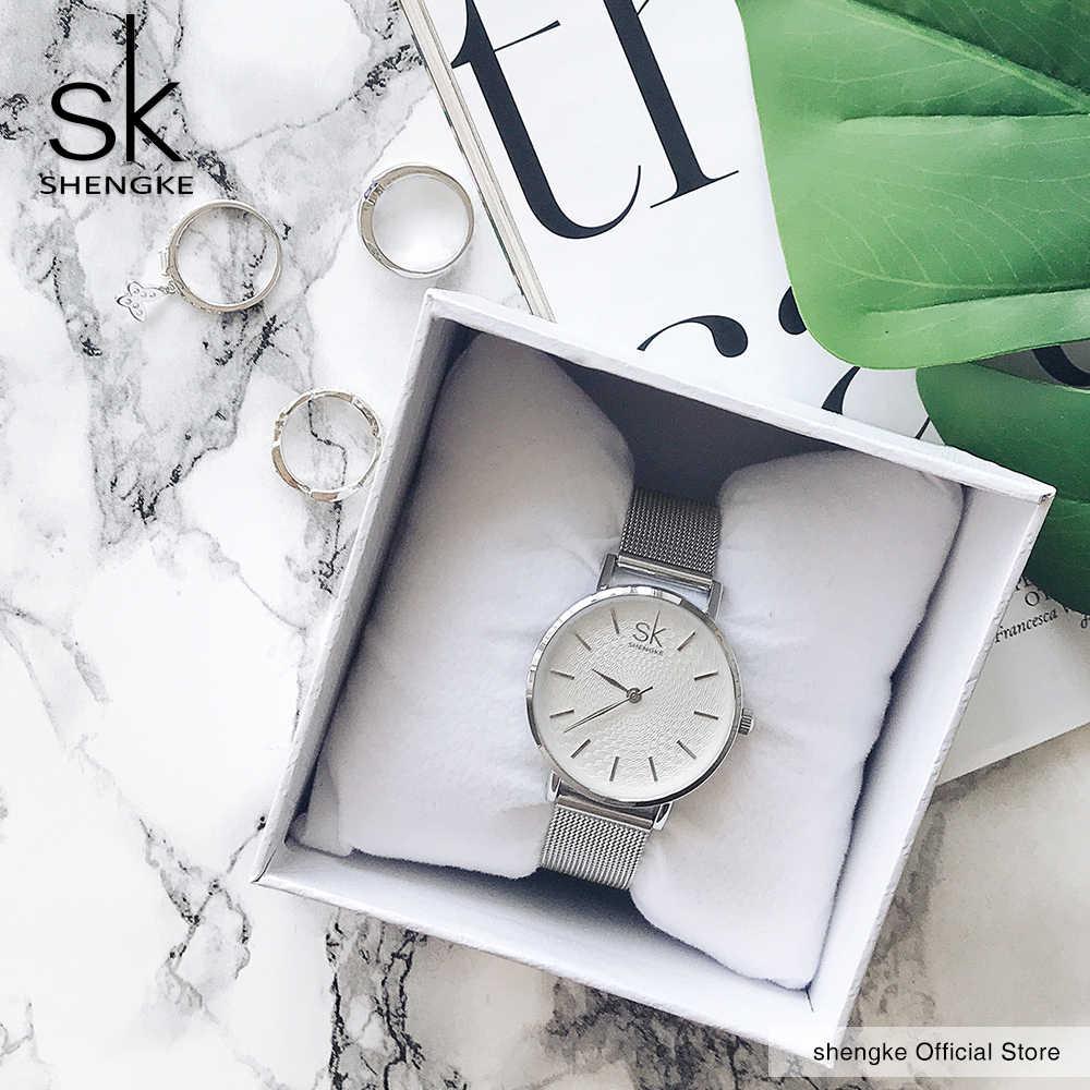 SK Super Slim Sliverตาข่ายสแตนเลสสตีลนาฬิกาผู้หญิงแบรนด์หรูนาฬิกาสุภาพสตรีนาฬิกาสบายๆนาฬิกาข้อมือนาฬิกาเลดี้Relogio Feminino