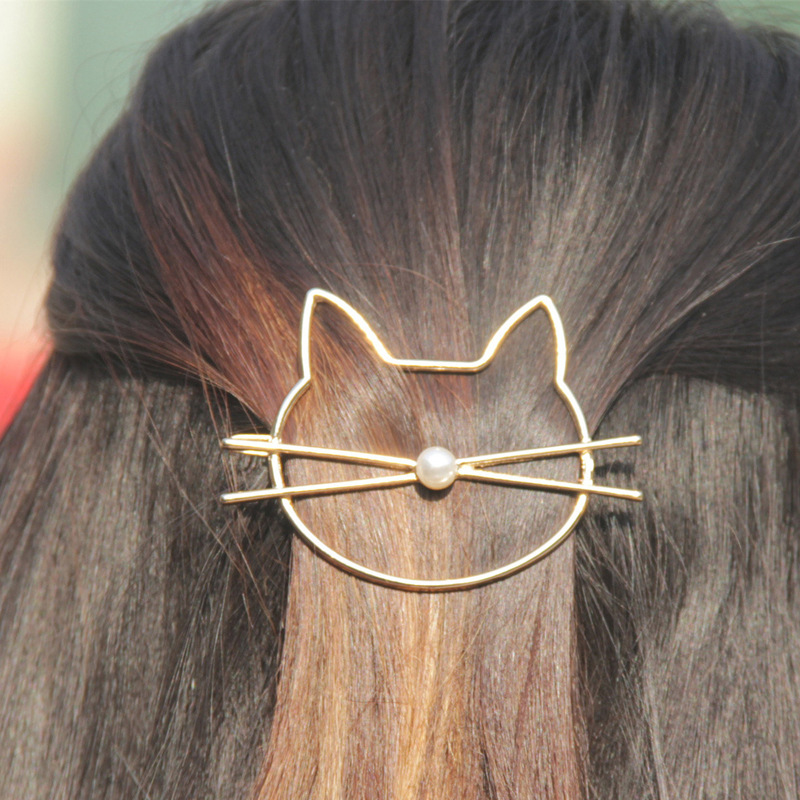 Cute Beauty Crystal Cat Pearl Gold Headwear Hairpin Hair Clip Women Jewelry Wedding Hair Accessories Jewelry Hairwear