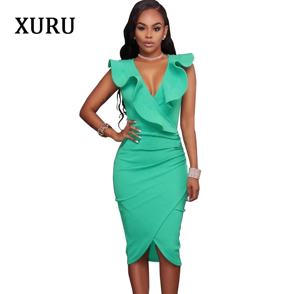 XURU Black White Blue Women Dress Sexy V-Neck Ruffle Knee-Length Split Solid Bodycon Dresses 2018 Summer Woman Sleeveless